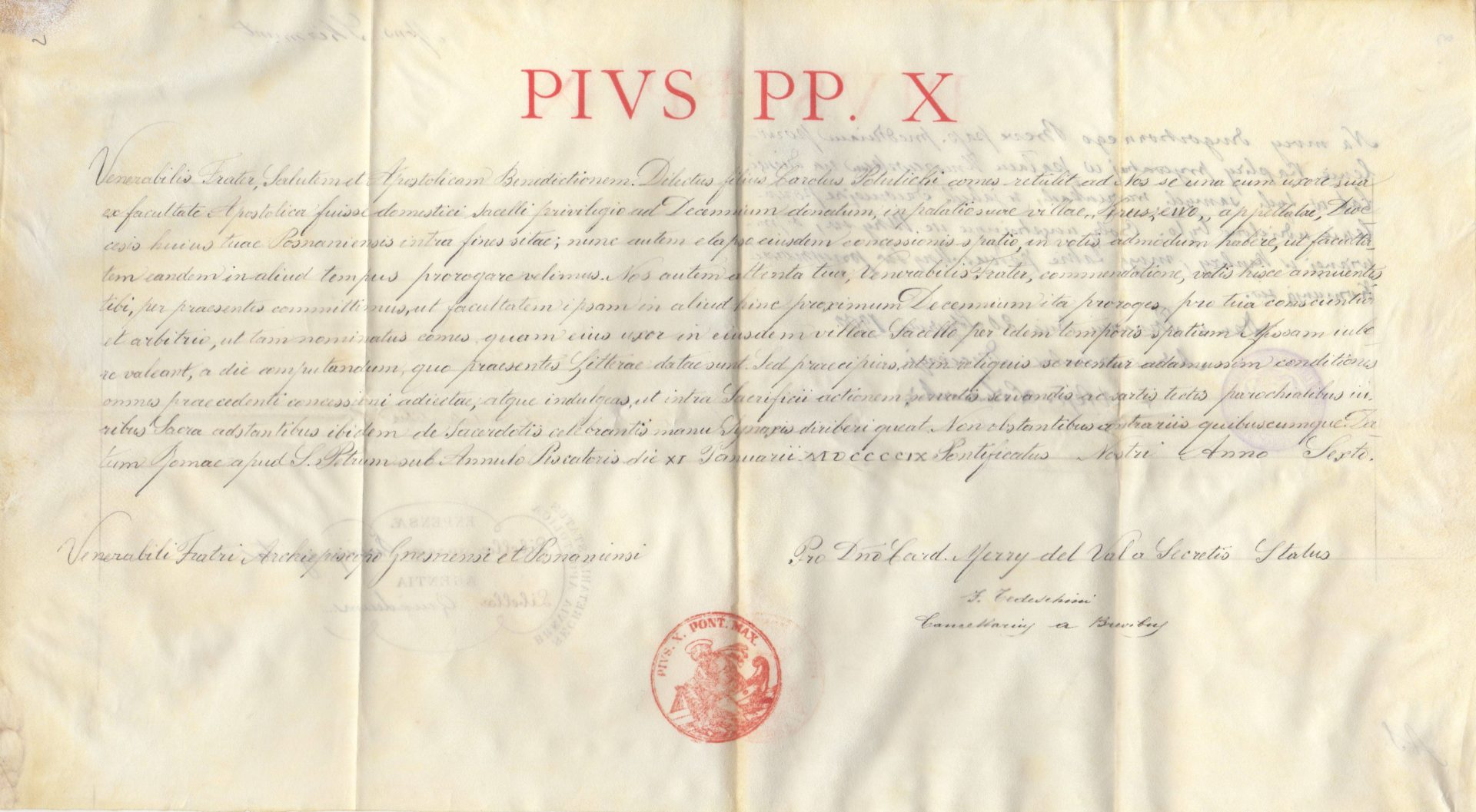 Päpstliche Urkunde von Pius X. für die Erlaubnis der Benutzung einer privaten Kapelle im Schloss Kruszewo für die nächsten 10 Jahre
