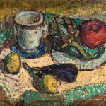 HANNA KALI-WEYNEROWSKA, Martwa natura z jabłkiem, bez daty, olej na płótnie. Kolekcja Muzeum Polskiego w Rapperswilu