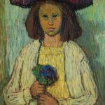 HANNA KALI-WEYNEROWSKA, Dziewczyna z fiołkami (Platerówna), 1947-48, olej na płótnie. Kolekcja Muzeum Polskiego w Rapperswilu