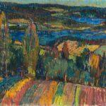 HANNA KALI-WEYNEROWSKA, Pejzaż z Faro (Szwecja), ok. 1947, olej na płótnie. Kolekcja Muzeum Polskiego w Rapperswilu