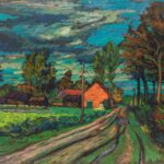 HANNA KALI-WEYNEROWSKA, Pejzaż z Lichtard ?, 1947, olej na płótnie. Kolekcja Muzeum Polskiego w Rapperswilu