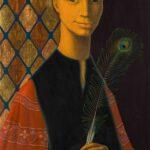 HANNA KALI-WEYNEROWSKA, Chłopiec z pawim piórem, bez daty, olej na desce. Kolekcja Muzeum Polskiego w Rapperswilu