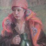 HUCUŁKA Z DZBANEM, Teodor Axentowicz, 1. poł. XX w, pastel na kartonie, 62 x 48 cm