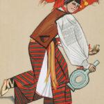 HUCUŁKA, Zofia Stryjeńska, 1939, plansza ręcznie kolorowana gwaszem i akwarelą, 58,5 x 45 cm