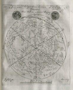 Zakrycie Jowisza przez Księżyc z dzieła Jana Heweliusza, Selenographia, sive Lunae descriptio, Gdańsk, 1647
