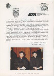 Przyznanie Dr h.c. Politechniki Wrocławskiej inż. Zdzisławowi Pręgowskiemu – 1992 r.
