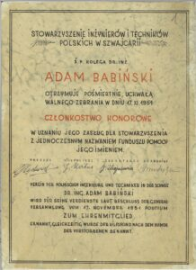 Członkostwo honorowe Stowarzyszenia Inżynierów i Techników dla Adama Babińskiego – 1951 r.